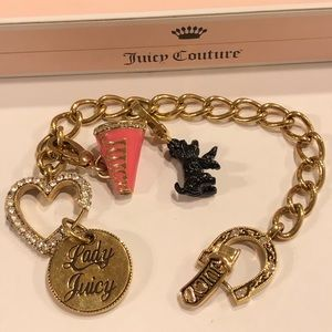 Vtg Juicy Couture Charm Bracelet w/ Box-2 Charms